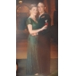 Linia -A Gât V Lungime Podea Dantelă Seară Formală Bal Militar Rochie cu Broșă Cristal de TS Couture®